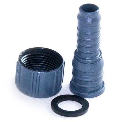 Schlauchtülle 15 und 20 mm aus Plastik mit G 3/4 Zoll Innengewinde und Überwurfmutter aus Kunststoff