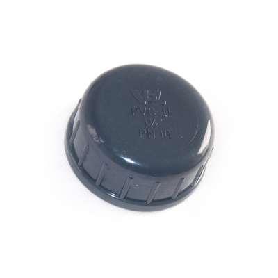 Verschlusskappe mit Dichtung und G 1 1/2 Zoll Innengewinde aus PVC-U Kunststoff von VDL