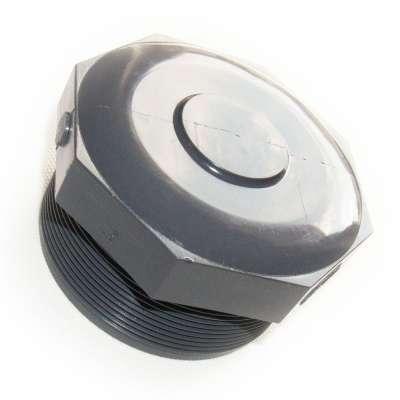 Verschlussstopfen mit G 3 Zoll Aussengewinde (ca. 87,88mm Durchmesser) aus PVC Kunststoff als Hohlschraube rund