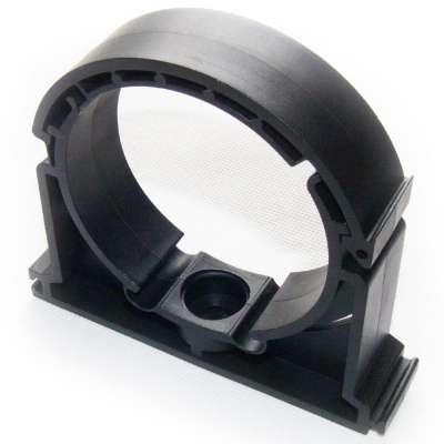 Rohrschelle 75mm (3 Zoll) zweiteilig klappbar PP Kunststoff Plastik schwarz Klemme Schelle Typ B Bügelschelle