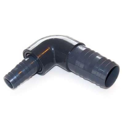 Winkel Schlauchadapter aus PVC Kunststoff mit 50, 51, 52, 53 mm (2 Zoll) auf 31, 32, 33, 34 mm (1 1/4 Zoll) VDL Schlauchtüllen als 90 Grad Reduzierstück für Schlauch