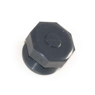 Verschlussstopfen mit G 1 1/2 Zoll Aussengewinde (ca. 47,60mm Durchmesser) aus PVC Kunststoff als Verschlussschraube rund