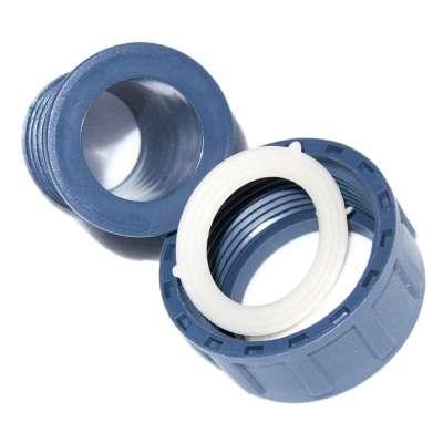 """Schlauchtülle DN 32 mm (1 1/4"""") aus PP mit G 1 1/4 Zoll Innengewinde und Überwurfmutter aus Kunststoff"""