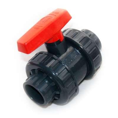 Kugelhahn DN 40 mm (1 1/2 Zoll) Klebemuffen Innendurchmesser PVC Kunststoff Hahn Absperrhahn