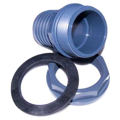 """Schlauchtülle 50 mm (2"""") aus PP mit G 2 Zoll Aussengewinde und Überwurfmutter aus PVC Kunststoff"""