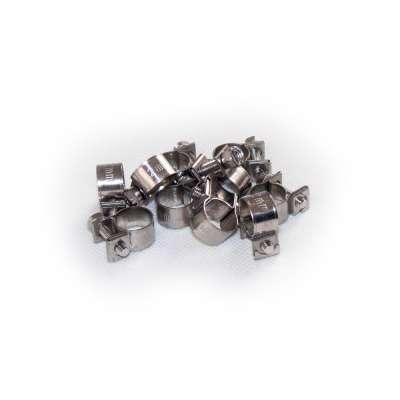 Mini Schlauchschelle 10-12 mm W4 Edelstahl rostfrei rundziehend 9mm breit als 10 Stück Set