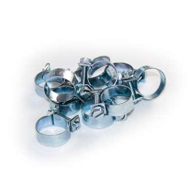 Mini Schlauchschelle (Spannbackenschelle) 17-19 mm W1 rundziehend 9mm breit als 10 Stück Sortiment