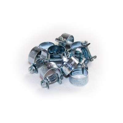 Mini Schlauchschelle (Spannbackenschelle) 15-17 mm W1 rundziehend 9mm breit als 10 Stück Sortiment