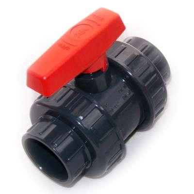 Kugelhahn oder Auslaufhahn DN 50 mm (2 Zoll) Klebemuffen Innendurchmesser PVC Kunststoff Hahn Absperrhahn