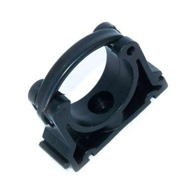 Rohrschelle 40mm VDL (1 1/2 Zoll) zweiteilig klappbar PP Kunststoff Plastik schwarz Klemme Schelle Typ B