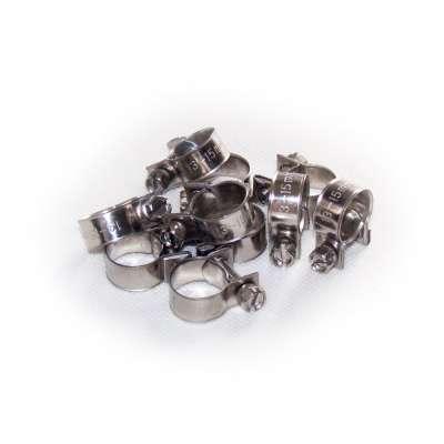 Mini Schlauchschelle 13-15 mm W4 Edelstahl rostfrei rundziehend 9mm breit als 10 Stück Set