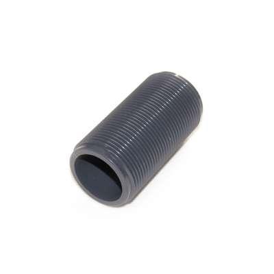 Gewinderohr hohl mit G 1 1/4 Zoll Gewinde aussen und 80 mm Länge aus PVC Kunststoff Plastik als Gewindestange