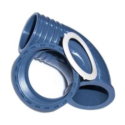 """90 Grad Winkel Schlauchtülle (Überlaufbogen) 50 mm (2"""") aus PP mit G 2 Zoll Innengewinde und Überwurfmutter aus Plastik"""