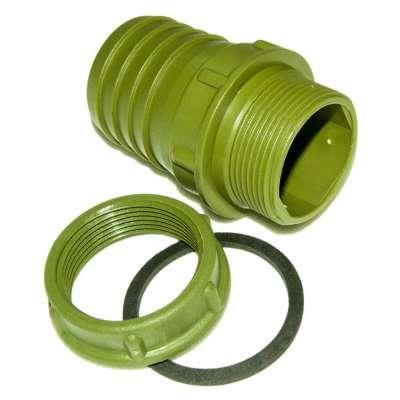 """Grüne Schlauchtülle 50 mm (2"""") mit G 1 1/2 Zoll Aussengewinde und Überwurfmutter aus PP Kunststoff"""