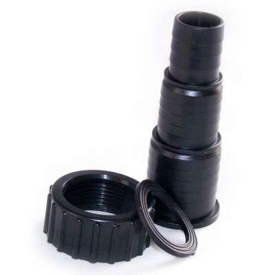 Schlauchtülle 25, 32 und 38 mm aus Plastik mit G 1 1/2 Zoll Innengewinde und Überwurfmutter aus Kunststoff