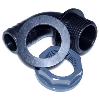 """90 Grad Winkel Schlauchtülle (Überlaufbogen) 25 mm (1"""") aus PP mit G 1 Zoll Aussengewinde und Überwurfmutter aus PVC Kunststoff"""