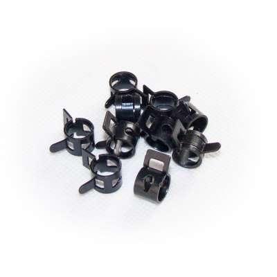 Federschellen W1 im 10 Stück Set für 9 - 12 mm Durchmesser schwarz beschichtet als Sortiment selbstspannend