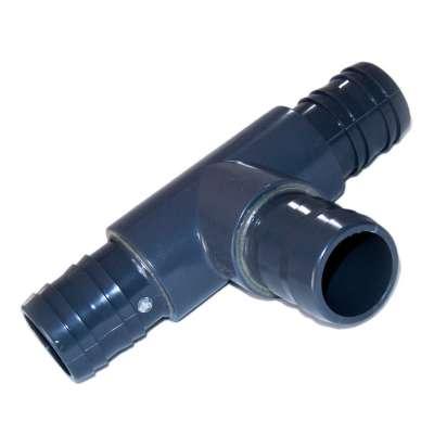T Stück 90 Grad 50, 51, 52 und 53 mm (2 Zoll) aus PVC mit 3 Schlauchtüllen für Wasser, Waschmaschine, Spülmaschine und Spiralschlauch