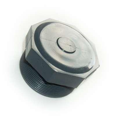 Verschlussstopfen mit G 2 1/2 Zoll Aussengewinde (ca. 75,18mm Durchmesser) aus PVC Kunststoff als Schraubstopfen rund