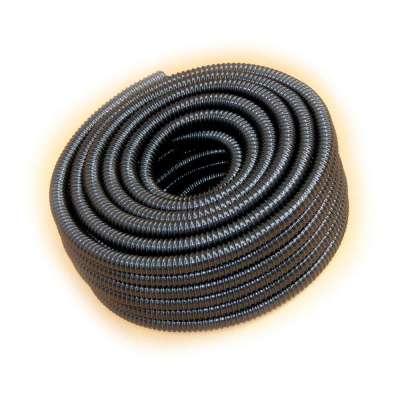 Spiralschlauch in schwarz von Rehau mit 25mm (1 Zoll) Innendurchmesser und UV-beständig als 25m Rollenware