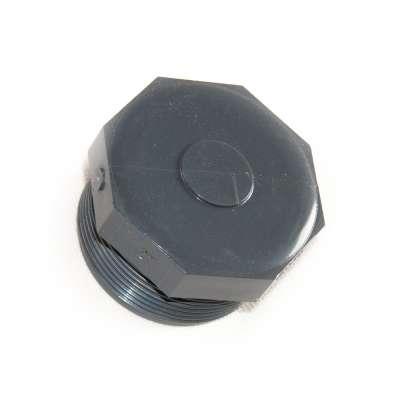 Verschlussstopfen mit G 2 Zoll Aussengewinde (ca. 59,40mm Durchmesser) aus PVC Kunststoff als Plastikstopfen rund