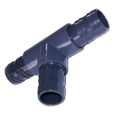 T Stück 38, 40, 41, 42 und 43 mm (1 1/2 Zoll) aus PVC mit 3 Schlauchtüllen für Wasser, Waschmaschine, Spülmaschine und Spiralschlauch