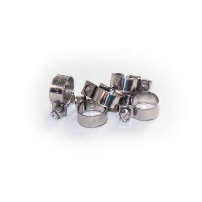 Mini Schlauchschelle 14-16 mm W4 Edelstahl (z.B. V2A oder V4A) rundziehend 9mm breit als 5 Stück Set