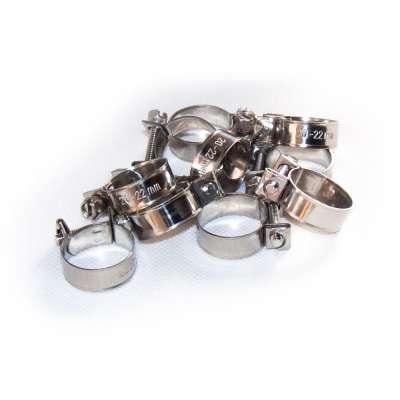 Mini Schlauchschelle 20-22 mm W4 Edelstahl rostfrei rundziehend 9mm breit als 10 Stück Sortiment