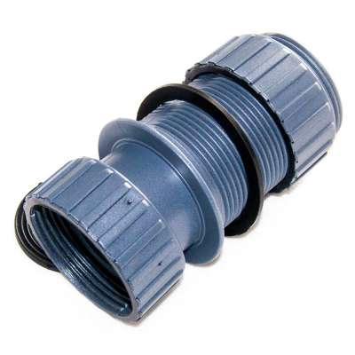 Tankdurchführung G 1 1/2 Zoll mit Aussengewinde und Innengewinde aus Kunststoff, Dichtungen, Kontermutter und Überwurfmutter