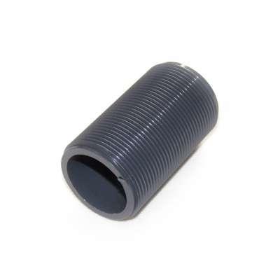 Gewinderohr hohl mit G 1 1/2 Zoll Gewinde aussen und 80 mm Länge aus PVC Kunststoff Plastik als Gewinderollen