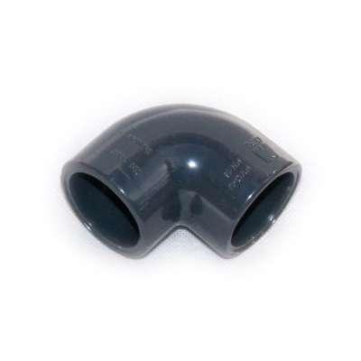 Winkel (gebogen) 90 Grad mit beidseitig 32 mm Klebemuffen (Innendurchmesser) gleichschenklig aus PVC Kunststoff